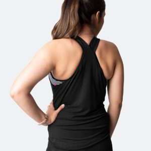 Cadenshae Breastfeeding Top - Rise Up Tank Jet Black Maternity Nursing Top back