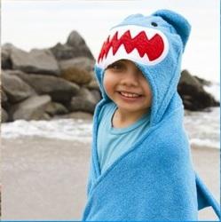 ZOOCCHINI Kids Plush Terry Hooded Bath Towel - Sherman the Shark