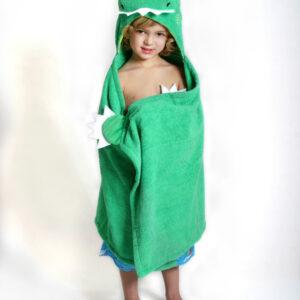 ZOOCCHINI Kids Plush Terry Hooded Bath Towel - Devin the Dinosaur