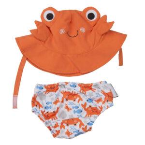 ZOOCCHINI Baby Swim Nappy & Sun Hat Set - Crab