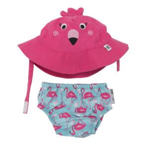Zoocchini Nappy & Hat Set - flamingo