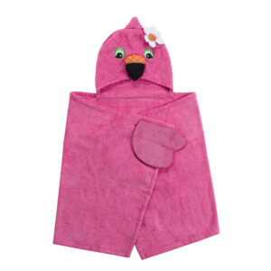 ZOOCCHINI Kids Plush Terry Hooded Bath Towel - Franny the Flamingo