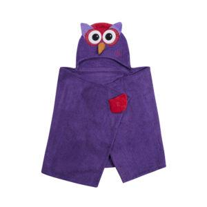 ZOOCCHINI Kids Plush Terry Hooded Bath Towel - Olive the Owl