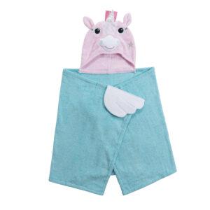 ZOOCCHINI Kids Plush Terry Hooded Bath Towel - Allie the Alicorn