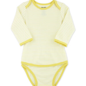 OETEO - Popper Free Long Sleeve Vest - Stripy Candy Yellow